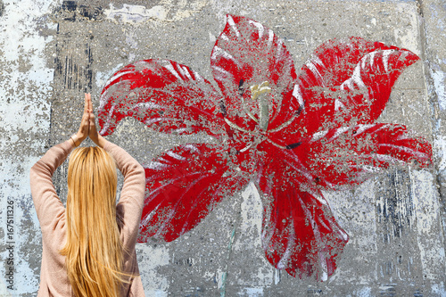 Red flower graffiti-Kas-Turkey