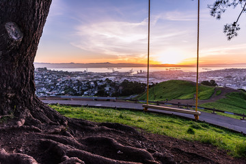 San Francisco and the rope swing at Bernal Heights.