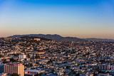 The Golden Gate Bridge through San Francisco at Sunrise.