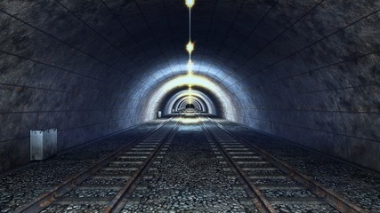 High speed ride through a train mystic tunnel. 3D rendering