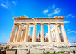 facade of Parthenon temple over bright blue sky background, Acropolis hill, Athens Greece, retro toned