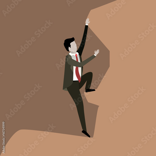 Foto op Plexiglas Zalm color scene rock landscape with businessman trying to climb