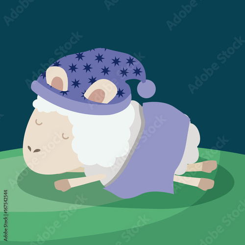 Fotobehang Boerderij color poster scene closeup sheep sleeping cap dreaming