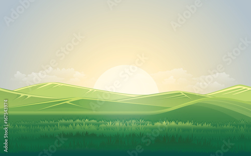 Aluminium Boerderij Summer green meadow and mountain landscape with sunset. vector illustration