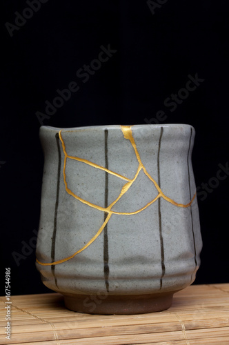 A handmade pot made that was broken and I repaired with the Japanese art form of kintsugi. © photoBeard