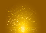 golden glowing lights effects isolated on transparent background Golden star and sparkles or  gold  particle  glitter light. Merry Christmas festive background.defocused circle particle bokeh.