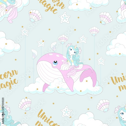 Fototapeta Seamless pattern with cute unicorn. Beautiful background with clouds. Vector illustration.
