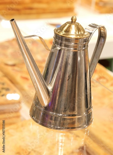 steel oil cruet in a Neapolitan pizzeria to season the pizza