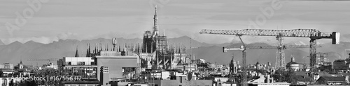 Foto op Canvas Milan Milano, duomo in bianco e nero