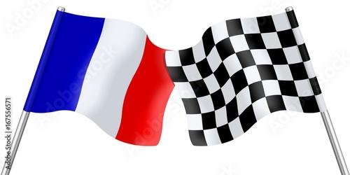 Drapeaux de la France et damier