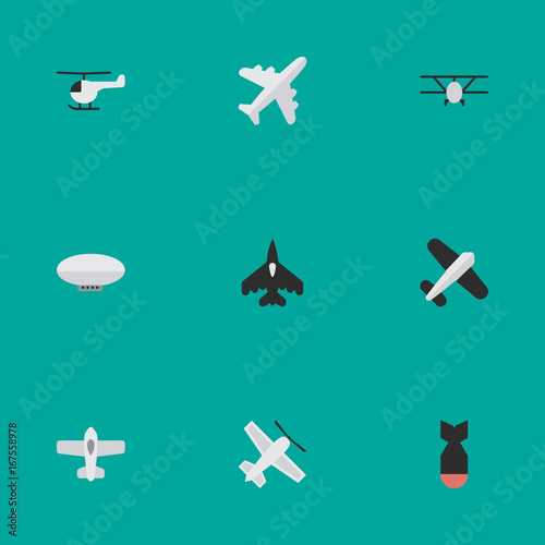 Vector Illustration Set Of Simple Aircraft Icons. Elements Copter, Aviation, Plane And Other Synonyms Chopper, Airplane And Flying.