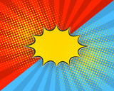 Pop art cartoon background, vector illustration. Red, blue rays, yellow dots, explosion bubble half tone vintage style. - 167562370
