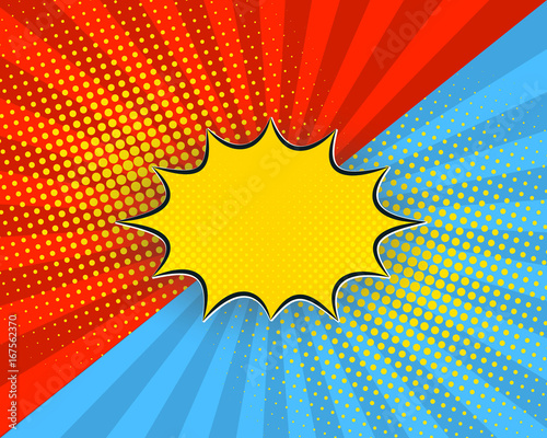 Aluminium Pop Art Pop art cartoon background, vector illustration. Red, blue rays, yellow dots, explosion bubble half tone vintage style.