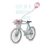 Retro rower z kwiatami i balonem. Grafika z napisem