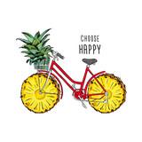 Retro rower z kołami z owoców ananasów. Zielony ananas w koszyku