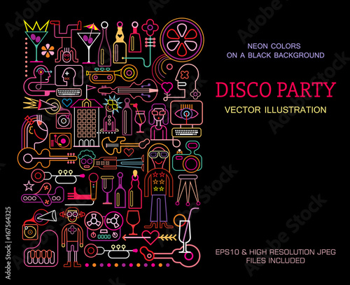 Keuken foto achterwand Abstractie Art Disco Party poster template design