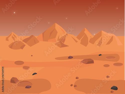 Foto op Aluminium Kosmos Mars landscape, vector space background seamless