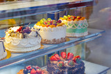 Cakes on display at a bakery shop in London Chinatown - 167573586
