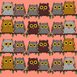 Cute owls sitting on a branch pink background - 167580384