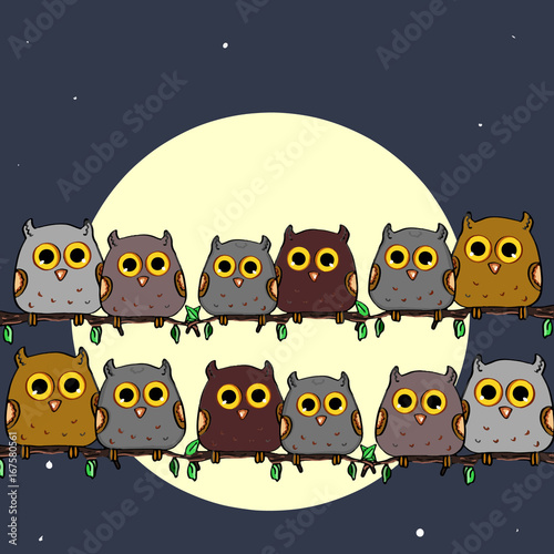 Aluminium Uilen cartoon Cute owls sitting on a branch single the moon background