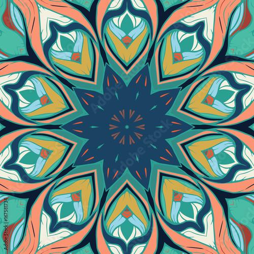 Floral mandala square pattern - 167581734