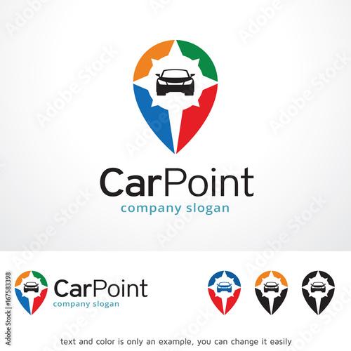 Car Point Logo Template Design Vector Emblem Concept Creative Symbol Icon