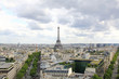 PARIS, JULY 2017: Skyline of Paris city with Eiffel Tower from above