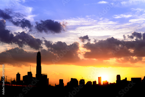silhouette of cityscape bangkok city on sunset sky bakground, thailand