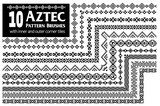 Aztec vector pattern brushes with inner and outer corner tiles. Perfect for creating design elements, tribal geometric ornament, frames, borders and more. All used brushes included in brush palette. - 167589971