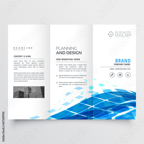 Fridge magnet corporate tri fold brochure design with blue abstract shapes