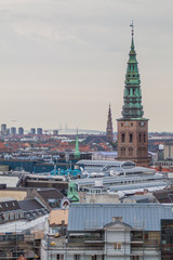 Skyline of Copenhagen, Denmark. Oresund bridge in the background.