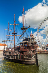 GDANSK, POLAND - SEPTEMBER 2, 2016: Pirate ship on Motlawa river in Gdansk, Poland