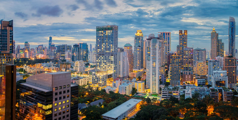 Bangkok city sunset and light in inght time