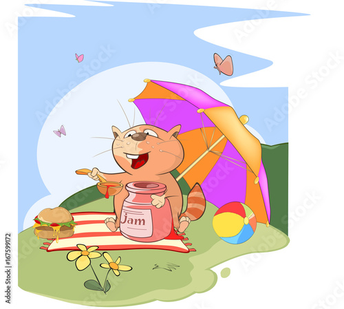 Illustration of a Cute Cat. Summer Picnic