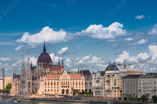 Hungarian Parliament on the embankment of Danube river