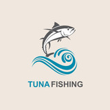 icon of tuna fish with waves