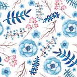 Watercolor Berry and Blue Flowers Seamless Pattern - 167620141