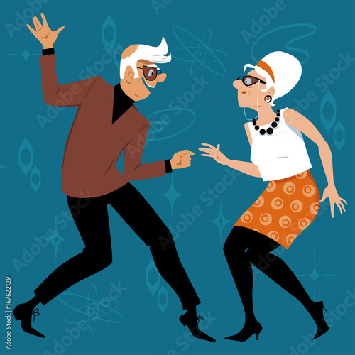 Mature couple dressed in 1960th fashion dancing the Twist, EPS 8 vector illustration