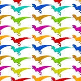 A funny pattern of Tyrannosaurus Rex illustrations in different colors