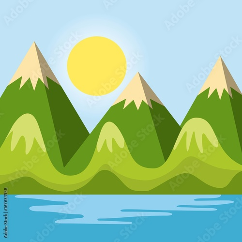 Warm relaxing landscape icon vector illustration design graphic