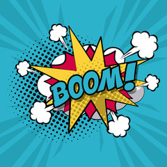 colorful background pop art style of cloud explosive callout for dialogue with boom text vector illustration
