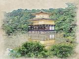 Rysunek Conte; Ogród japoński w świątyni Kinkaku-ji w Kioto w Japonii