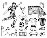 hand drawn vintage sketh of the football theme: footballer, ball, laurels, whistle, arbiter, cup. elements for your  sport design