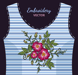 Embroidery wild rose, dogrose flowers on undershirt in blue strip. Fashionable embroidery roses, spring art, template for romantic clothes, t-shirt design art - 167642180