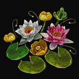 Embroidery water lily flowers. Classical embroidery lotus and water lilies, template fashionable clothes, t-shirt design, print art - 167642196