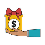 hand holding gift box with money icon image vector illustration design