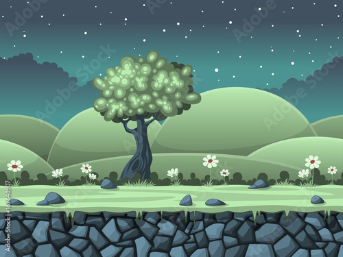 Poster Seamless cartoon nature background. Vector illustration with separate layers.