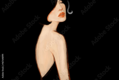 Beautiful woman in black dress. Fashion illustration. Watercolor painting