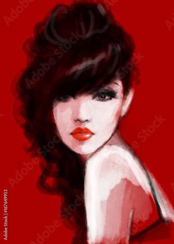 Fotobehang Anna I. Beautiful woman. Fashion illustration. Watercolor painting