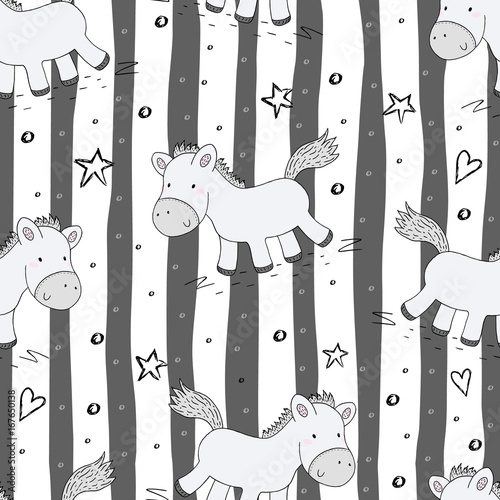 Cute seamless pattern with funny pony. vector illustration